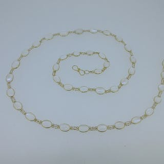A moonstone necklace, with forty one slightly graduating oval shaped