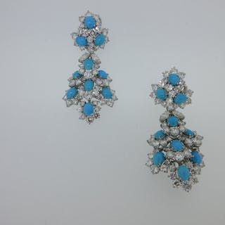 An impressive pair of turquoise and diamond articulated pendant earrings