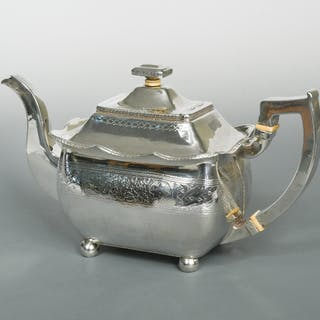 Dublin - A George lll large silver tea pot, maker not traced, 1810