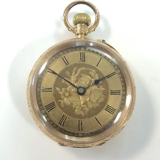 An unsigned continental 14ct gold open faced pocket watch, the gilt