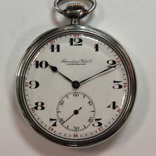 IWC - A continental silver open faced pocket watch, the signed white