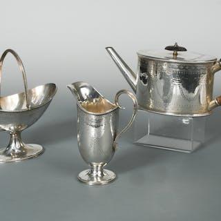 A Victorian silver three piece tea set, by Robert Harper, London 1874