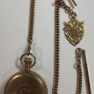 Elgin - a gold plated full hunter pocket watch with accompanying 'Albert'