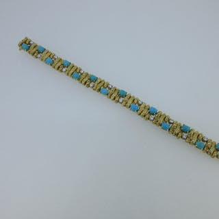 A French diamond and turquoise set bracelet, designed as an articulated