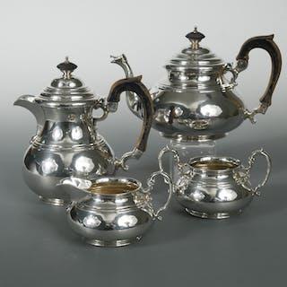 A George V silver four piece tea set, by Edward Barnard & Sons, London
