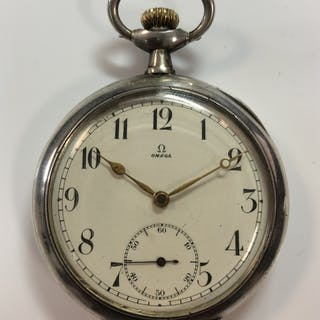 Omega - An open faced pocket watch, the signed white dial, 42mm diameter