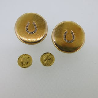 A small collection of 19th century French 18ct gold gentleman's requisites