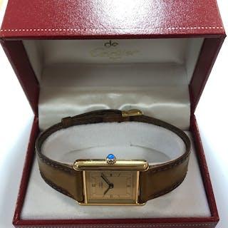 Cartier - A vermeil 'Les must de Cartier' 'Tank' wristwatch, circa