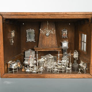 A collection of 20th century Dutch silver miniature furniture, the