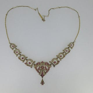 A ruby and seed pearl necklace, set to the front with graduated pierced