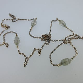A vintage chain necklace with seed pearls and rock crystal rondelles