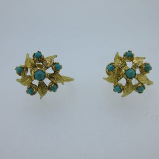 A pair of turquoise cluster screw-back earrings, each designed as
