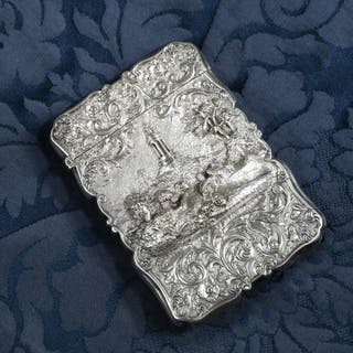 A rare Victorian silver 'Castle Top' card case by Nathaniel Mills