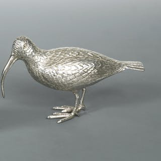 A 20th century silver model of a curlew, by Francis Higgins & Sons