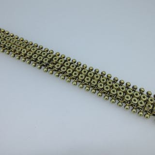 A star and ball mesh link bracelet, of early 19th century design