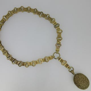 A late 19th century bar and hoop link collar suspending a cast locket