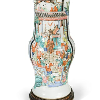 A Chinese famille rose 'Happy Boys' baluster vase, late Qing Dynasty/early
