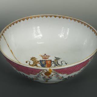 An 18th century Chinese famille rose export porcleain armorial punch