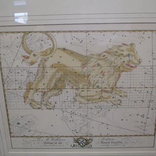 Two reproduction astrology prints, Leo and Cancer (2). 34 x 39 cm approx