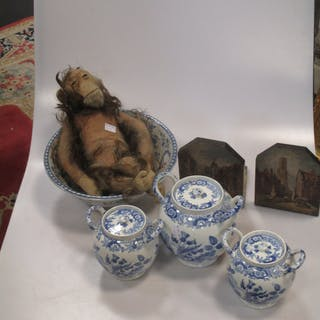 Three 19th century Spode blue and white globular jars and covers