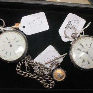 Two Victorian silver open faced key wind chronograph pocket watches
