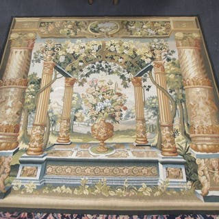 A Chinese machine made wool wall-hanging tapestry in the 17th Century