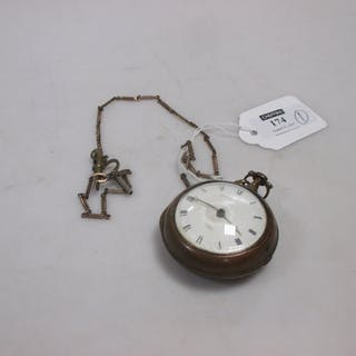 A late 18th century pair cased pocket watch with attached decorative