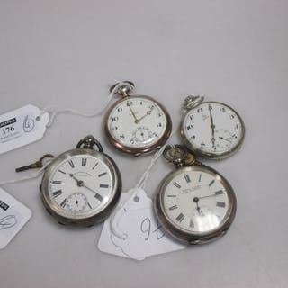An open faced pocket watch together with three continental silver examples (4)