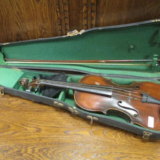 A German violin with Stradivarius label (full size) cased