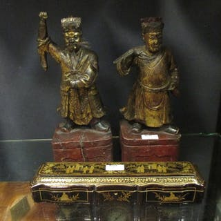 A pair of Chinese carved wood gilt figures of Mandarins, 34cm high