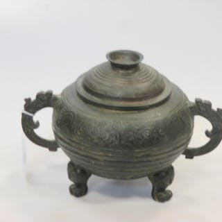A 19th century Chinese bronze archaic style censor and cover