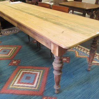 A pair of long pine tables (2). 77x273x81.5 cm and 78x273x82 cm.