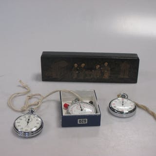 Three stopwatches and a Chinese lacquer pen box