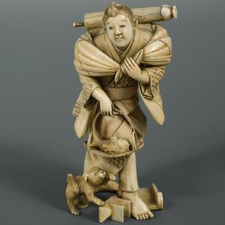 An ivory okimono of a man with a fish basket, Meiji period, finely
