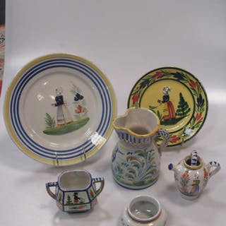A group of Quimper/Rouen type pottery wares, various shapes and sizes