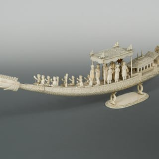 An Indian ivory carved model of a ceremonial boat, late 19th century