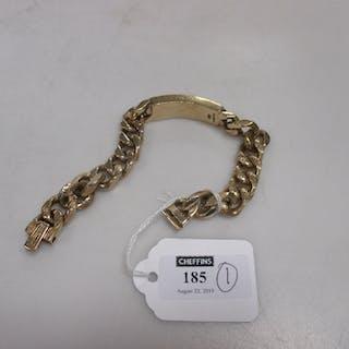 A 9ct gold identity bracelet 91.8g