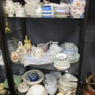 A Royal Worcester twelve piece tea set with Japanese butterfly pattern