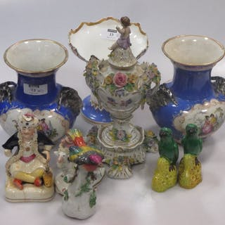 A collection of porcelain to include a Coalport inkwell and vase