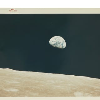 "[APOLLO 8]. EARTHRISE. VINTAGE NASA ""RED NUMBER"" PHOTOGRAPH"