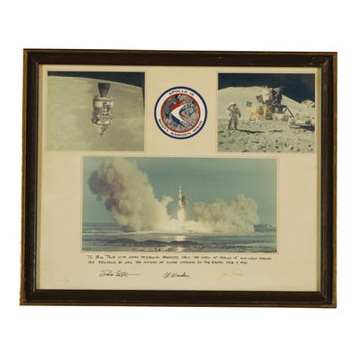 [APOLLO 15]. PHOTO PRESENTATION SIGNED AND INSCRIBED BY THE CREW TO BILL TAUB