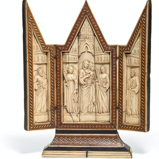 ITALIAN, VENICE OR FLORENCE, EARLY 15TH CENTURY | TRIPTYCH WITH THE
