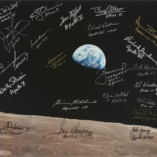 [APOLLO 8]. EARTHRISE. LARGE COLOR PHOTOGRAPH SIGNED AND INSCRIBED