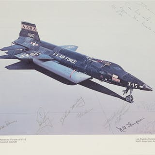 [APOLLO 11]. X-15 VINTAGE COLOR PHOTOLITHOGRAPH, SIGNED BY NEIL ARMSTRONG