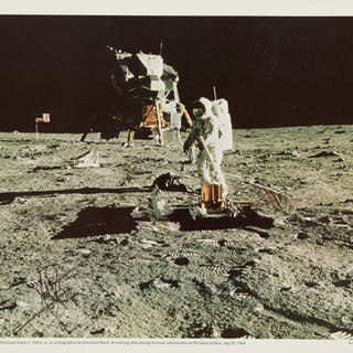 [APOLLO 11]. MAN ON THE MOON. VINTAGE COLOR PHOTOLITHOGRAPH SIGNED