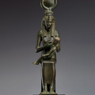 AN EGYPTIAN BRONZE FIGURE OF ISIS WITH HORUS, 26TH DYNASTY, 664-525 B.C.