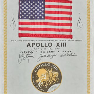 [APOLLO 13]. FLOWN ON APOLLO 13 STARS AND STRIPES, ON CERTIFICATE