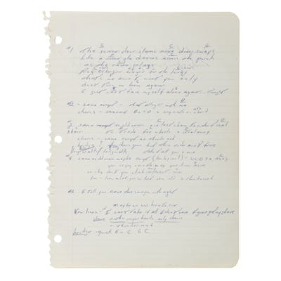 "SPRINGSTEEN, BRUCE | ""Thunder Road"" Working Manuscript, [Long Branch"