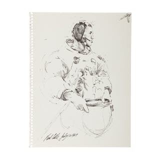 [APOLLO 11]. PAUL CALLE. PEN AND INK SKETCH OF NEIL ARMSTRONG SUITING