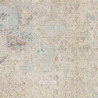 [APOLLO PROGRAM]. LUNAR PHOTOGRAPHY INDEX MAP, SIGNED BY MEMBERS FROM